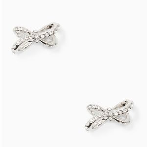 Kate Spade ♠️ NWT Silver Stones Bow Stud Earrings